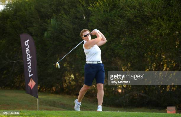 Alison Gray of Ormskirk Golf Club plays her first shot on the 1st tee during The WPGA Lombard Trophy Final Day One on September 21 2017 in Albufeira...