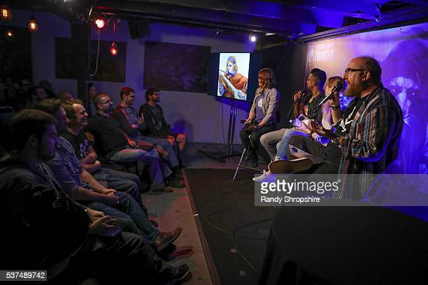 Alison Haislip Utkarsh Ambudkar Shelby Fero and Brian Posehn attend DD Live From Meltdown Comics Comics and Collectibles on June 1 2016 in Los...
