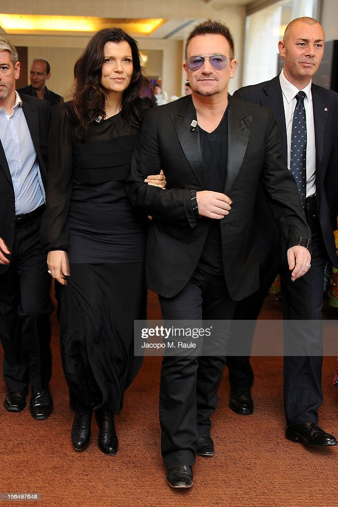 Alison Hewson and <a gi-track='captionPersonalityLinkClicked' href=/galleries/search?phrase=Bono+-+Singer&family=editorial&specificpeople=167279 ng-click='$event.stopPropagation()'>Bono</a> arrive for the third day of the 2012 International Herald Tribune's Luxury Business Conference held at Rome Cavalieri on November 16, 2012 in Rome, Italy. The 12th annual IHT Luxury conference is the premier meeting point for the luxury industry. 500 delegates from 30 countries have gathered in Rome to hear from the world's most inspirational fashion designers and luxury business leaders.