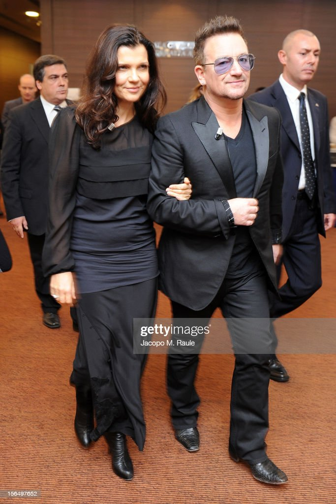 Alison Hewson and Bono arrive for the third day of the 2012 International Herald Tribune's Luxury Business Conference held at Rome Cavalieri on November 16, 2012 in Rome, Italy. The 12th annual IHT Luxury conference is the premier meeting point for the luxury industry. 500 delegates from 30 countries have gathered in Rome to hear from the world's most inspirational fashion designers and luxury business leaders.