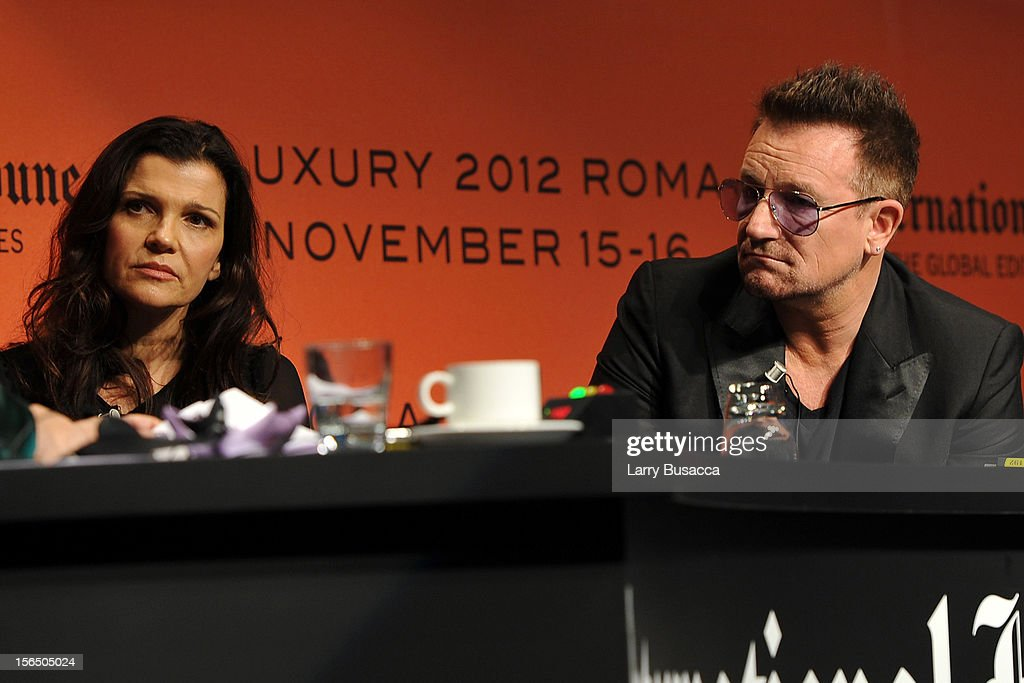 Alison Hewson and Bono speak during the third day of the 2012 International Herald Tribune's Luxury Business Conference held at Rome Cavalieri on November 16, 2012 in Rome, Italy. The 12th annual IHT Luxury conference is the premier meeting point for the luxury industry. 500 delegates from 30 countries have gathered in Rome to hear from the world's most inspirational fashion designers and luxury business leaders.