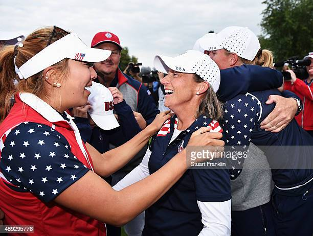 Alison Lee and Angela Stanford of team USA celebrate after winning the singles matches of The Solheim Cup at St LeonRot Golf Club on September 20...