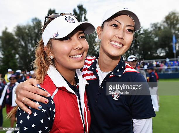 Alison Lee and Michelle Wie of team USA celebrate after winning the singles matches of The Solheim Cup at St LeonRot Golf Club on September 20 2015...
