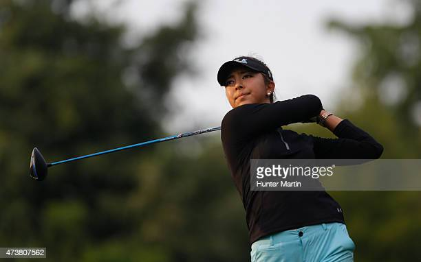 Alison Lee hits her tee shot on the ninth hole during the final round of the Kingsmill Championship presented by JTBC on the River Course at...