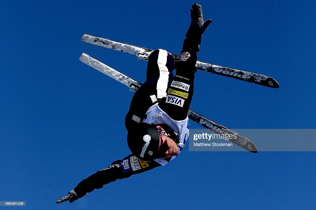 Alison Lee #20 jumps in qualifying for the Ladies Aerials during the Visa Freestyle International at Deer Valley on February 1, 2013 in Park City, Utah.