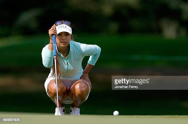 Alison Lee lines up a putt on the 3rd hole during the first round of the LPGA Cambia Portland Classic at Columbia Edgewater Country Club on August 13...
