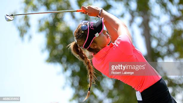 Alison Lee makes a tee shot on the fifth hole during round three of the ANA Inspiration on the Dinah Shore Tournament Course at Mission Hills Country...
