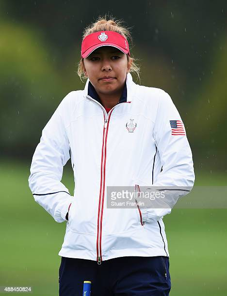 Alison Lee of Team USA looks cold during practice prior to the start of the Solheim Cup at St LeonRot Golf Club on September 16 2015 in St LeonRot...