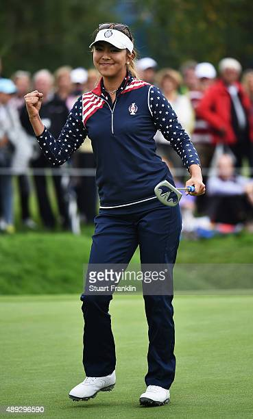 Alison Lee of team USA reacts to a putt during the singles matches of The Solheim Cup at St LeonRot Golf Club on September 20 2015 in St LeonRot...