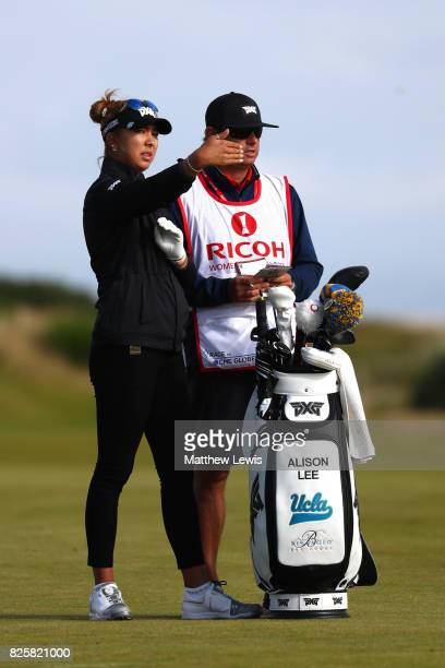 Alison Lee of the United States looks on during the first round of the Ricoh Women's British Open at Kingsbarns Golf Links on August 3 2017 in...
