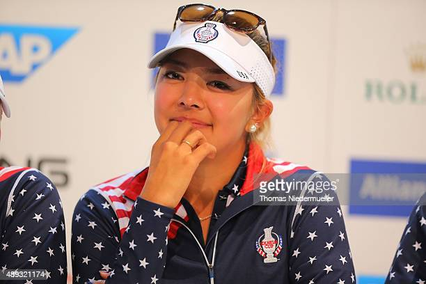 Alison Lee of the United States Team looks on at the press conference after the 2015 Solheim Cup at St LeonRot Golf Club on September 20 2015 in...