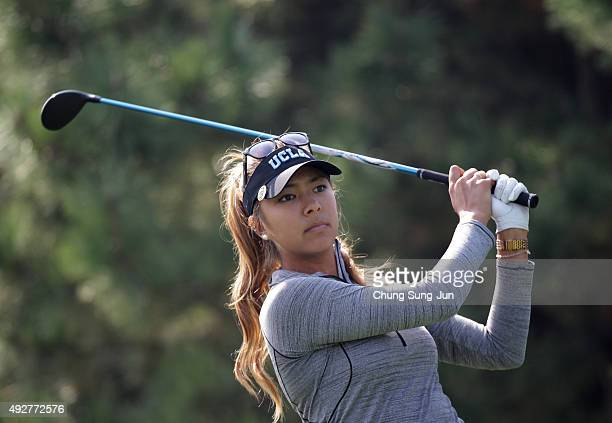 Alison Lee of United States plays a tee shot on the 4th hole during the first round of LPGA KEBHanaBank Championship at Sky 72 Golf Club Ocean Course...