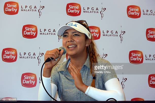 Alison Lee of USA speaks to the press during the post match press conference during round one of the Sime Darby LPGA Tour at Kuala Lumpur Golf...