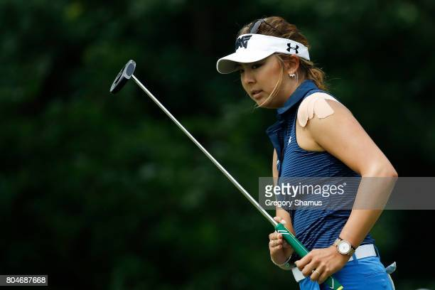 Alison Lee reacts to a missed putt on the 12th green during the second round of the 2017 KPMG PGA Championship at Olympia Fields Country Club on June...