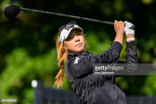 Alison Lee tees off on the 1st hole during the final round of the Canadian Pacific Women's Open on August 27 2017 at The Ottawa Hunt and Golf Club in...
