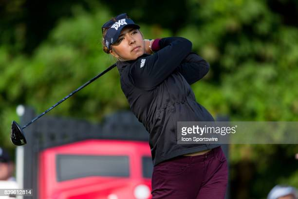 Alison Lee tees off on the 1st hole during the third round of the Canadian Pacific Women's Open on August 26 2017 at The Ottawa Hunt and Golf Club in...