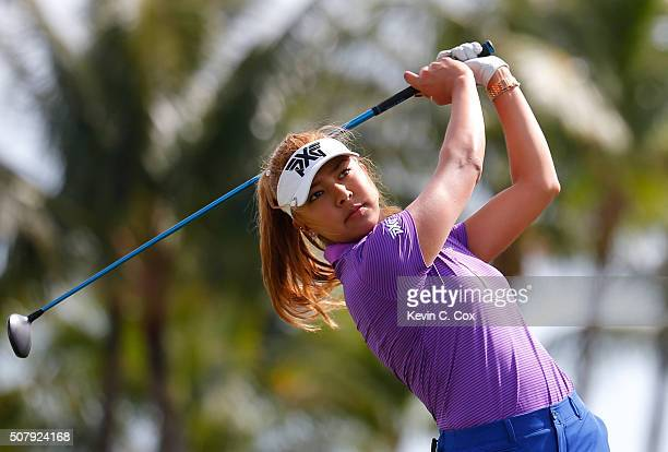 Alison Lee tees off the second hole during the third round of the Pure Silk Bahamas LPGA Classic at the Ocean Club Golf Course on January 30 2016 in...