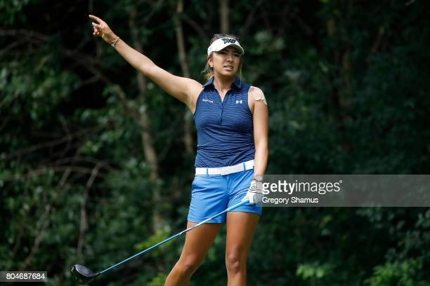 Alison Lee watches her drive on the 13th hole during the second round of the 2017 KPMG PGA Championship at Olympia Fields Country Club on June 30...
