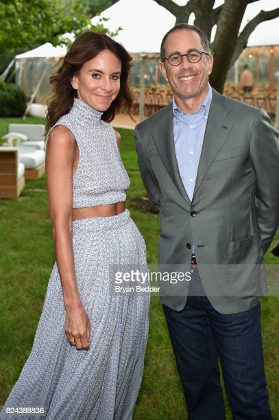 Alison Loehnis and Jerry Seinfeld attend The GOOD Foundation's Hamptons Summer Dinner cohosted by NETAPORTER on July 29 2017 in East Hampton New York