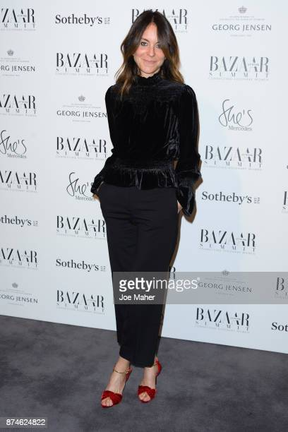 Alison Loehnis arriving at the Bazaar At Work Summit cocktail party at Sotheby's on November 15 2017 in London England