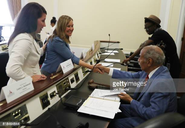 Alison LunderganGrimes Secretary of State of Kentucky and Denise Merrill Secretary of State of Connecticut greet House Judiciary ranking member John...