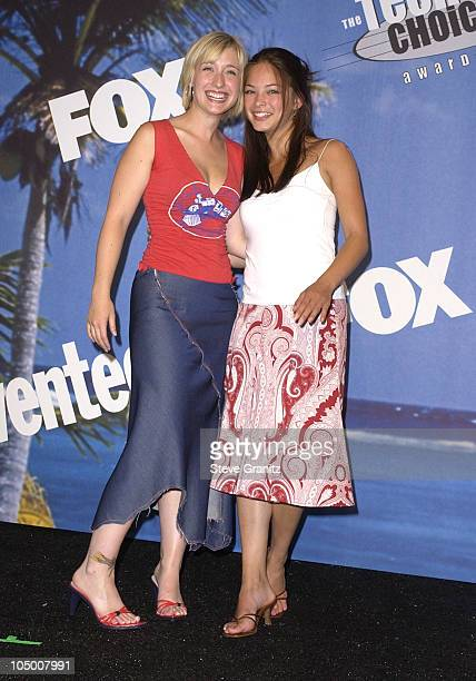Alison Mack Kristin Kreuk during The 2002 Teen Choice Awards Press Room at Universal Amphitheater in Universal City California United States