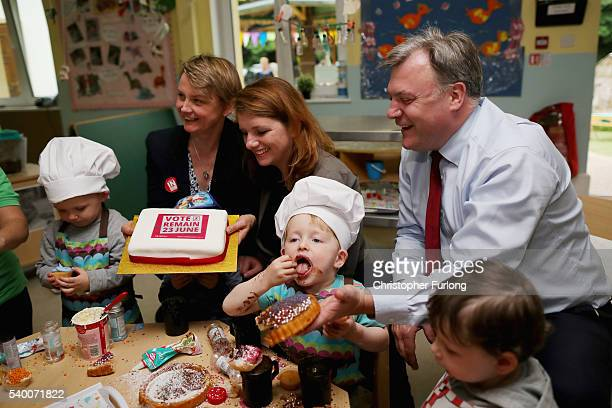 Alison McGovern MP Yvette Cooper MP and her husband and former shadow chancellor Ed Balls decorate cakes with children during a Vote Remain...