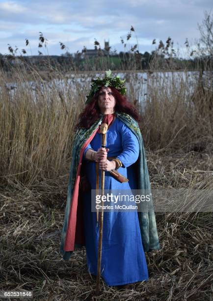 Alison McGrenaghan playing King Dichu's druidess poses for a portrait as the reenactment of the landing of Saint Patrick on Irish shores takes place...