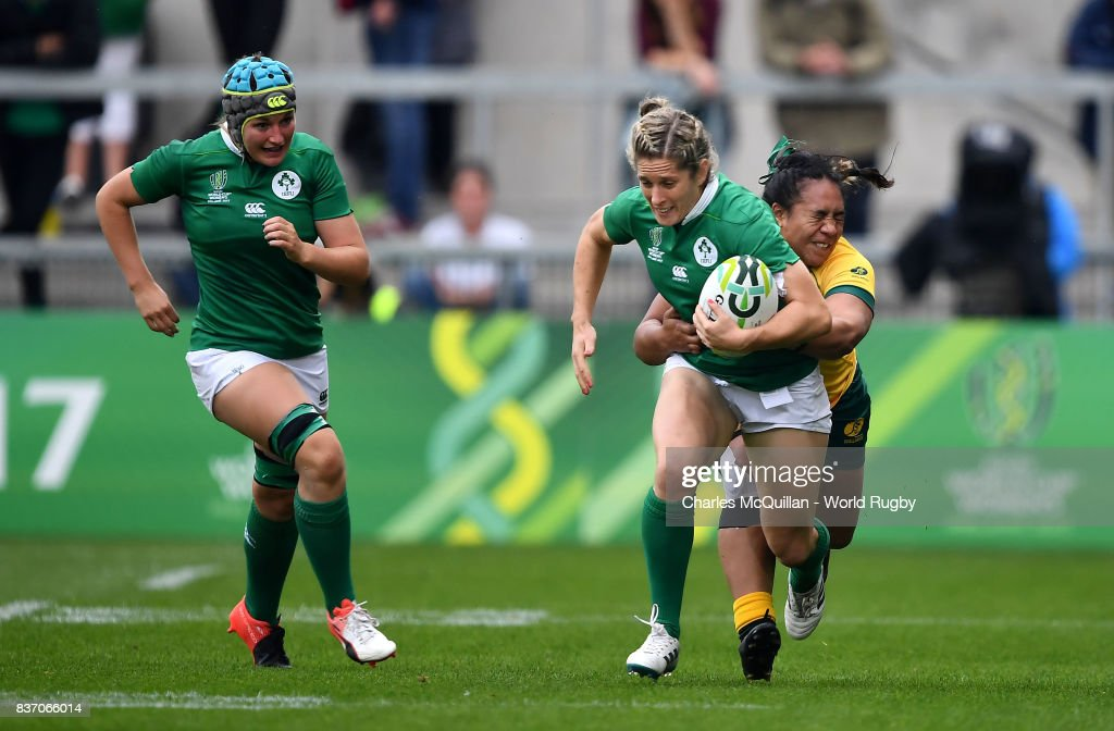 Alison Miller of Ireland is tackled by Nareta Marsters of Australia during the Womens Rugby World Cup 5th place semi-final at the Kingspan Stadium on August 22, 2017 in Belfast, United Kingdom.