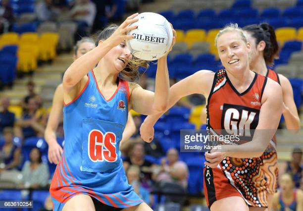 Alison Miller of the Waratahs in action during the round seven Australian Netball League match between the Storm and the Waratahs at University of...