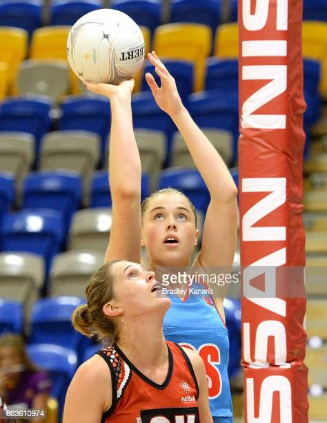 Alison Miller of the Waratahs lines up a shot during the round seven Australian Netball League match between the Storm and the Waratahs at University...