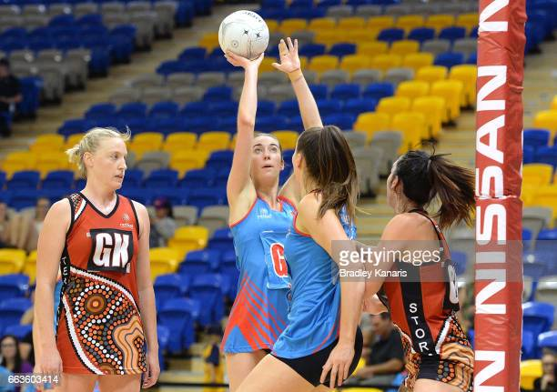 Alison Miller of the Waratahs shoots during the round seven Australian Netball League match between the Storm and the Waratahs at University of the...