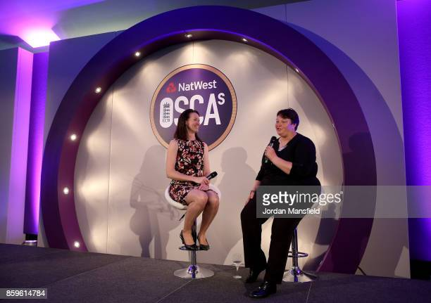 Alison Mitchell talks with ICC Women's World Cup Umpire Sue Redfern during the NatWest OSCAs at Lord's Cricket Ground on October 9 2017 in London...