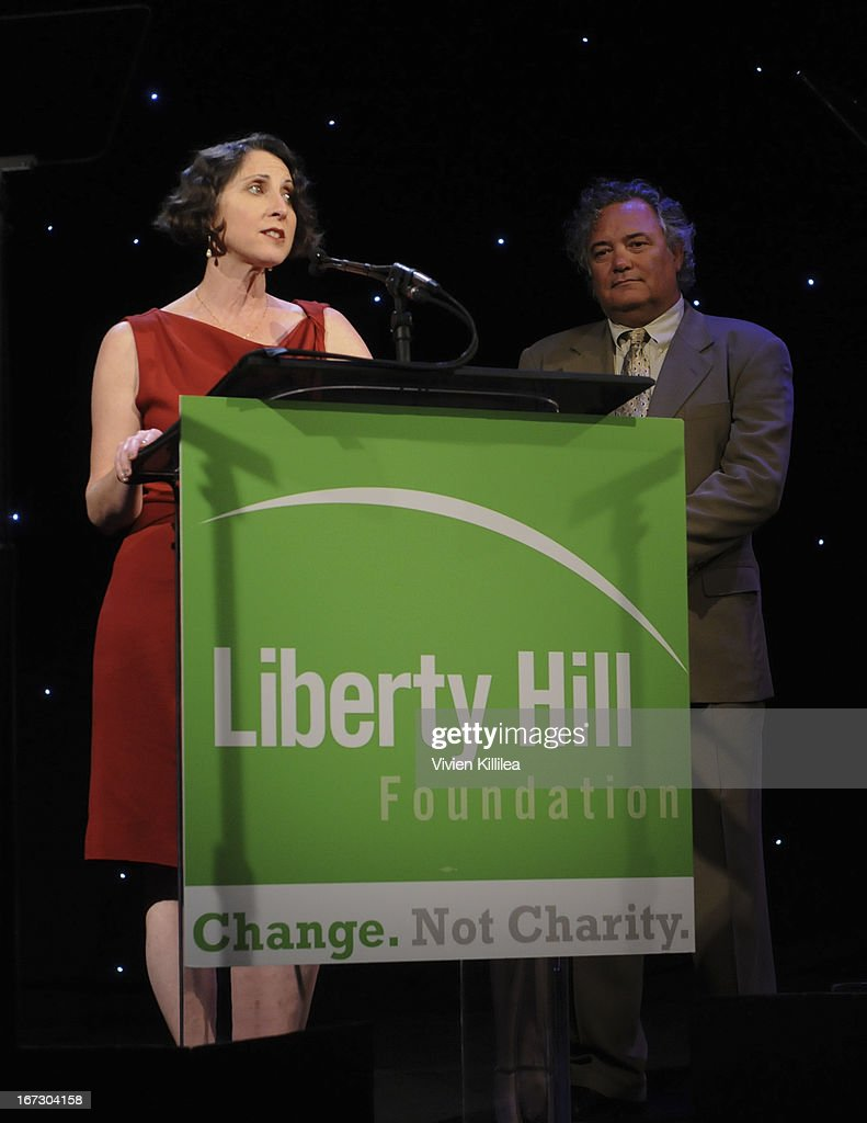 Alison Morgan and Parke Skelton receive the Founders Award during Liberty Hill's Upton Sinclair Awards Dinner Honors - Show at The Beverly Hilton Hotel on April 23, 2013 in Beverly Hills, California.