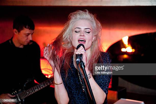 Alison Mosshart and Jamie Hince of The Kills perform onstage at The Lonsdale during the after party hosted by Leon Max to celebrate the opening of...