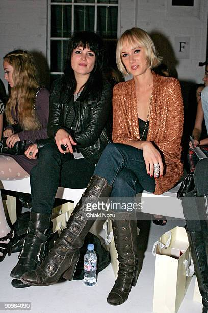 Alison Mosshart and Kimberly Stewart attend the Sass Bide show during London Fashion Week Spring/Summer 2010 at The Dairy on September 18 2009 in...