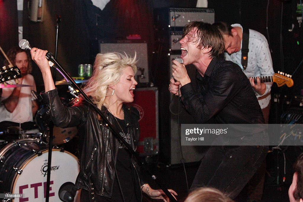 Alison Mosshart of The Kills and Matt Shultz of Cage the Elephant perform 'It's Just Forever' at a private concert for SiriusXM subscribers to celebrate the release of 'Melophobia' at The Studio at Webster Hall on October 9, 2013 in New York City.