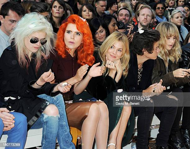 Alison Mosshart Paloma Faith Sienna Miller Harry Styles and Suki Waterhouse attend the front row at Burberry Prorsum Womenswear Spring/Summer 2014...