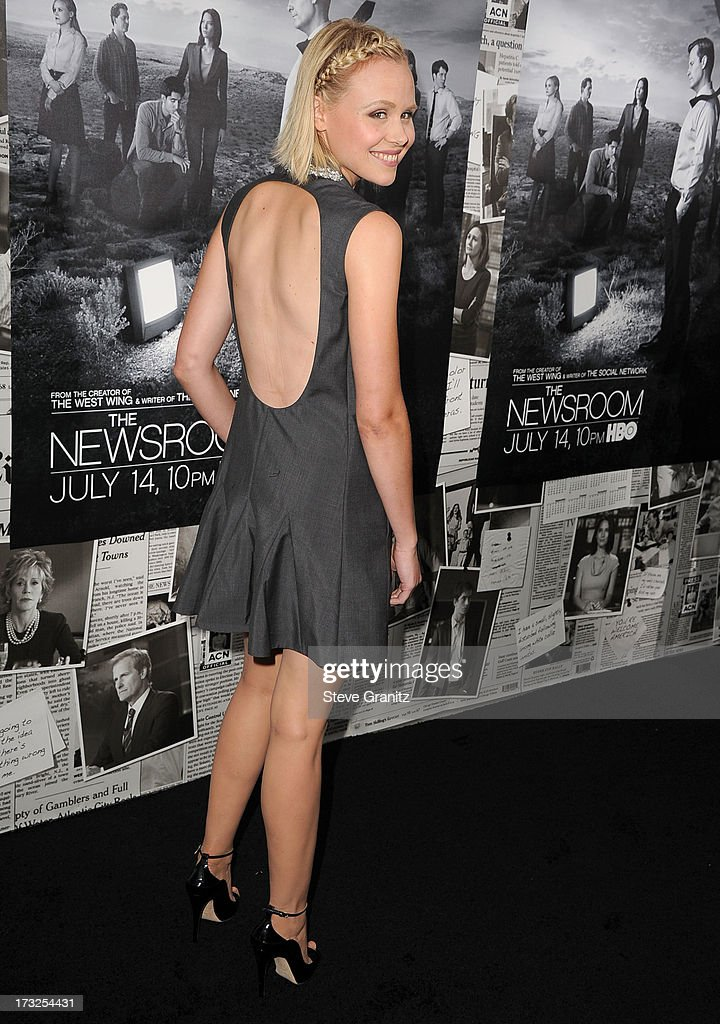 Alison Pill arrives at the Los Angeles Season 2 Premiere Of HBO's Series 'The Newsroom' at Paramount Studios on July 10, 2013 in Hollywood, California.