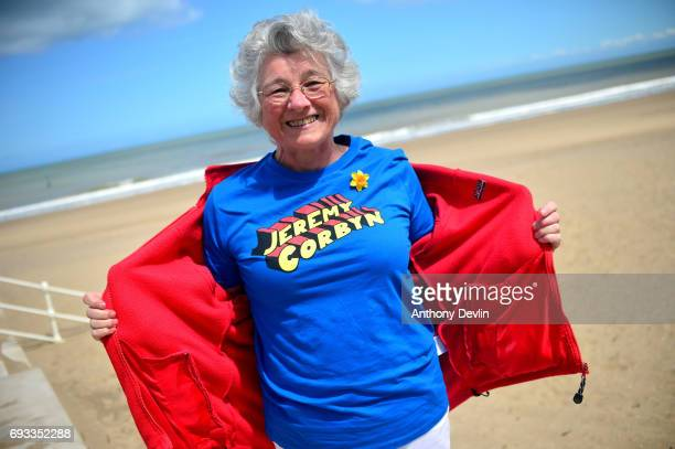 Alison Pring showsoff a Jeremy Corbyn tshirt as Labour party supporters arrive at Colwyn Bay Promenade ahead of a visit from Labour party leader...