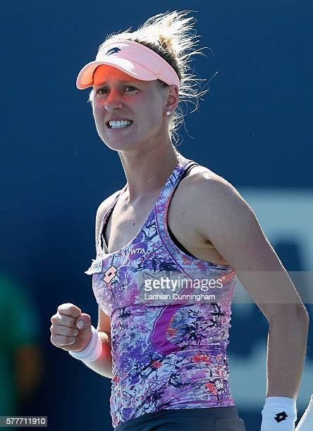 Alison Riske of the United States celebrates a point against Varvara Lepchenko of the United States during day two of the Bank of the West Classic at...