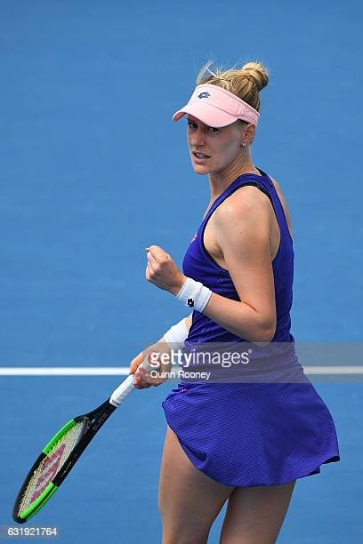 Alison Riske of the United States celebrates a point in her second round match against Shuai Zhang of China on day three of the 2017 Australian Open...