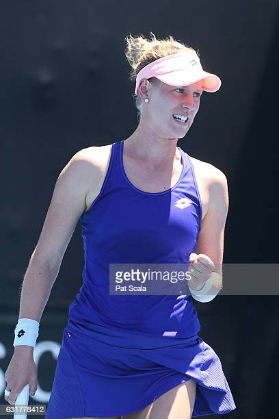 Alison Riske of the United States celebrates winning a point in his first round match against Madison Brengle of the United States on day one of the...