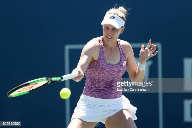 Alison Riske of the United States competes against Magda Linette of Poland during day 2 of the Bank of the West Classic at Stanford University Taube...
