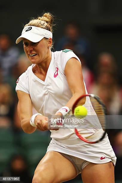 Alison Riske of the United States hits a backhand return during her Ladies' Singles third round match against Maria Sharapova of Russia on day six of...