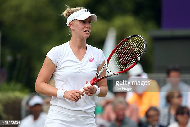 Alison Riske of the United States in action during her Ladies' Singles second round match against Camila Giorgi of Italy on day four of the Wimbledon...