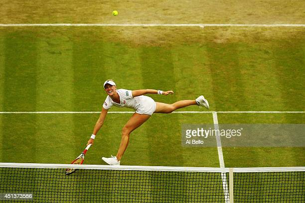 Alison Riske of the United States in action during her Ladies' Singles third round match against Maria Sharapova of Russia on day six of the...