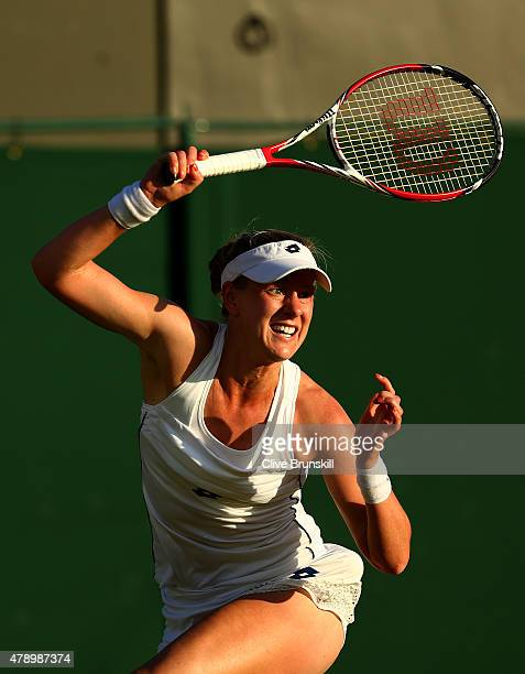 Alison Riske of the United States in action in her Ladies Singles first round match against Lucie Safarova of Czech Republic during day one of the...
