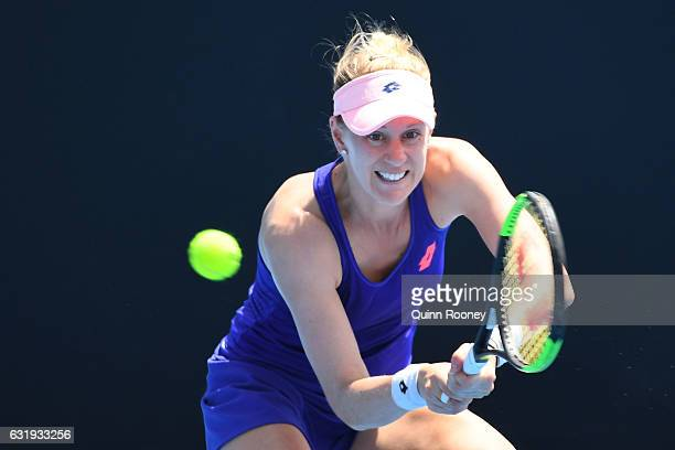 Alison Riske of the United States plays a backhand in her second round match against Shuai Zhang of China on day three of the 2017 Australian Open at...