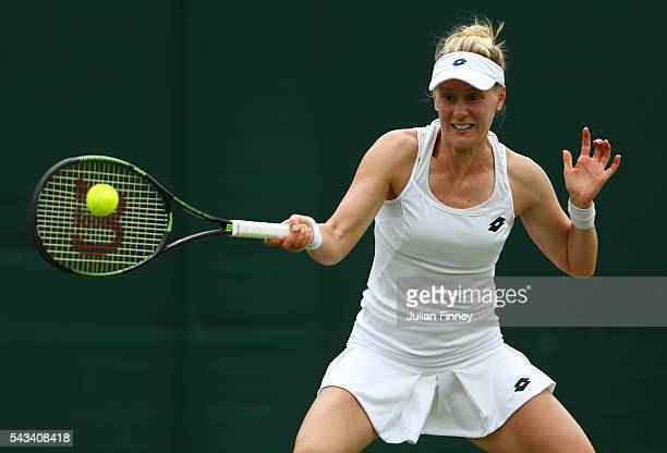 Alison Riske of The United States plays a forehand during the Ladies Singles first round match against Roberta Vinci of Italy on day two of the...